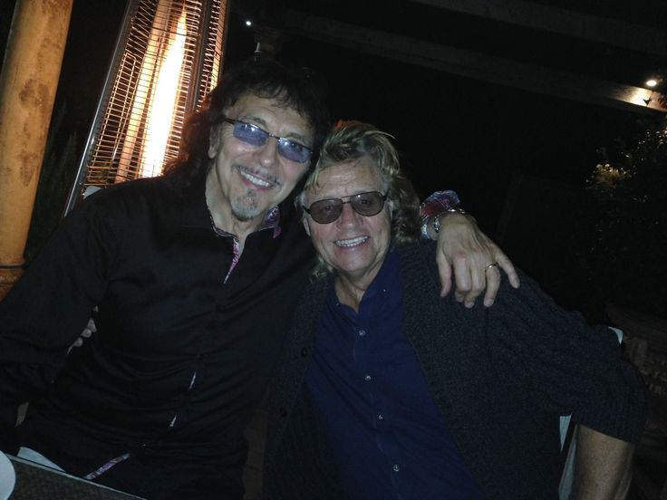 """Tony Iommi on Facebook (19-Sep-2014): """"Dear old friend of mine Bev Bevan and me having dinner plus a few drinks at my house! I had a great night on Tuesday watching him and another buddy Jasper Carrott playing in Wolverhampton."""""""