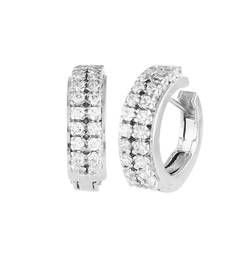 Buy Alluring Double  silver huggie  Earings hoop online