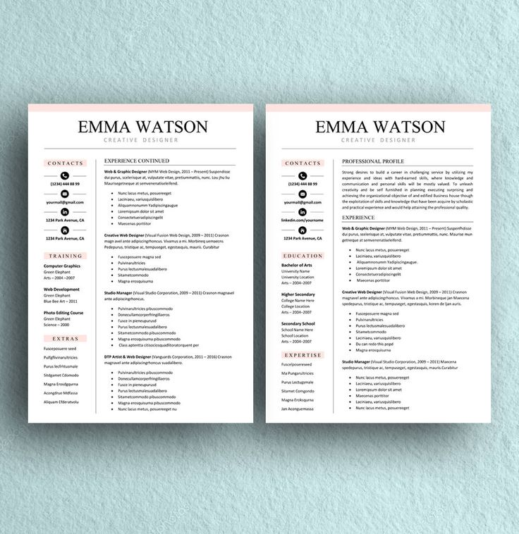 25+ parasta ideaa Pinterestissä Resume templates for word - 2 page resume