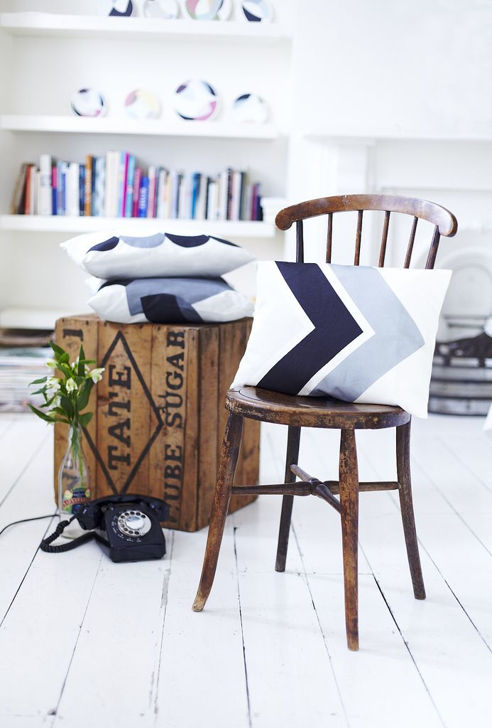 Lindsey Lang contemporary printed textiles: Wooden Chairs, Wood Chairs, Living Rooms, Side Tables, New Apartment, Vintage Wood, Lindsey Lang, Old Wooden Crates, Textile