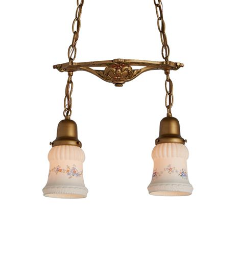 Colonial Revival 2-Light Pendant w/ Painted Shades