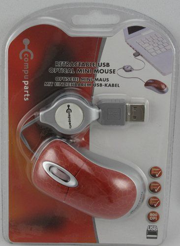 Oprolbare Optische USB Mini muis (Rood)
