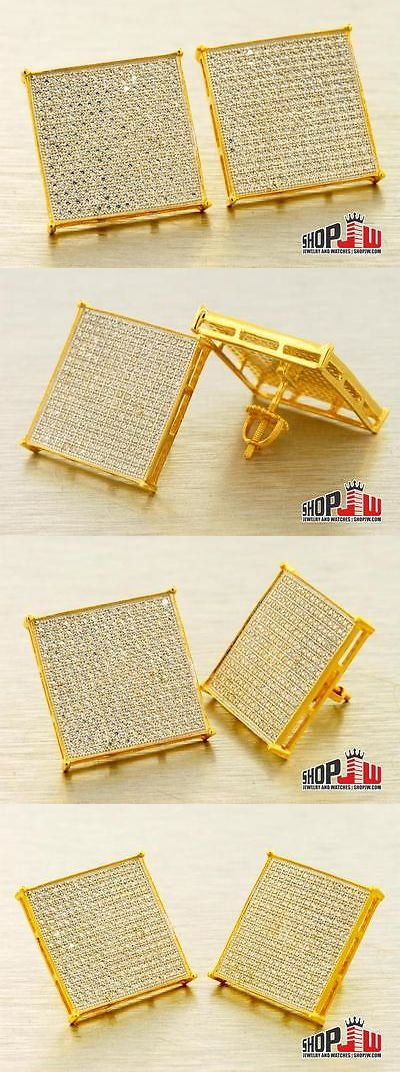 Earrings Studs 14085: Gold Finish .925 Silver Screw Back Earrings 20Mm Mens Hip Hop Square Style Big -> BUY IT NOW ONLY: $99.07 on eBay!