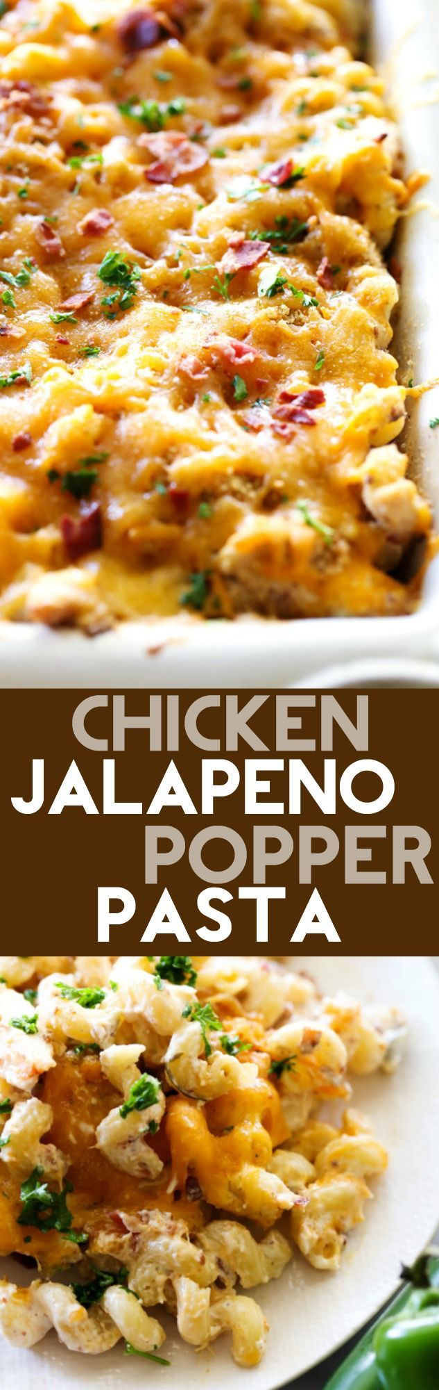 Chicken Jalapeño Popper Pasta... this recipe is loaded with creamy cheesy goodness! It has the right amount of heat and cool and is such a flavor packed meal the whole family will go crazy over!