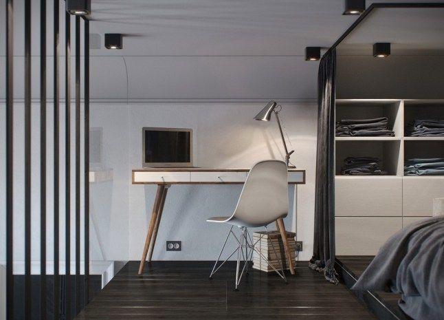 Небольшой домашний офис на втором уровне квартиры. .