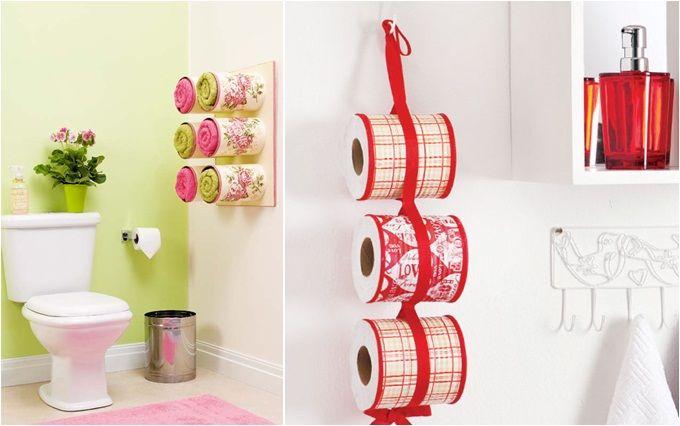 Bathroom organizing ideas – Towel storage made of decoupaged tin cans