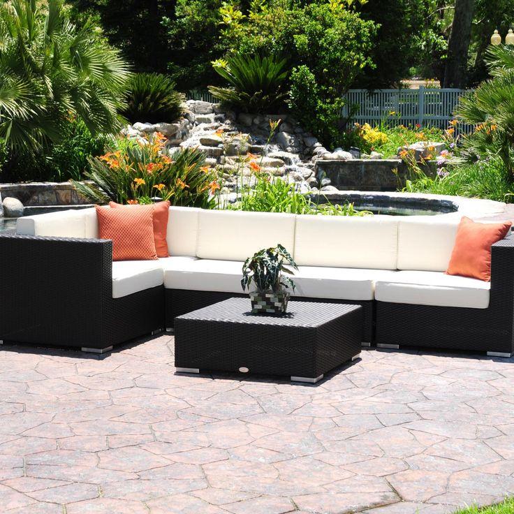 Luxxella Patio Mallina Outdoor Wicker Furniture All Weather Couch Sofa Set,  Orange Part 63