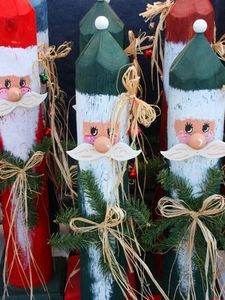 Wooden holiday characters. Santa, Snowman, etc. Use precut spindles for outdoor decor?