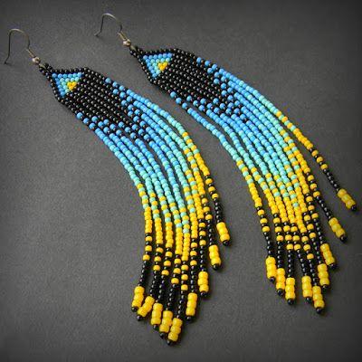 Яркие длинные серьги в этническом стиле. Необычные серьги из бисера с бахромой