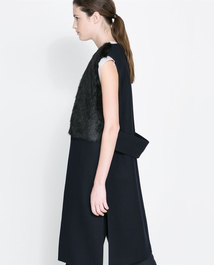 Combined Fur Long Waistcoat Blazers Woman Zara