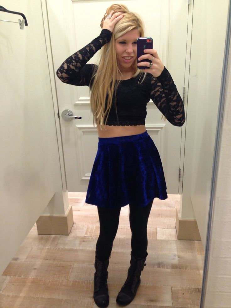 Velvet skater skirt and lace long sleeve crop top with black leggings and combat boots | clothes ...