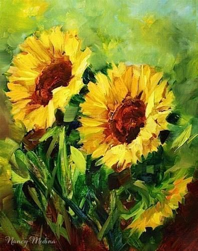 """""""Indian Summer Sunflowers and a Holiday Painting Giveaway by Texas Artist Nancy Medina"""" - Original Fine Art for Sale - © Nancy Medina"""