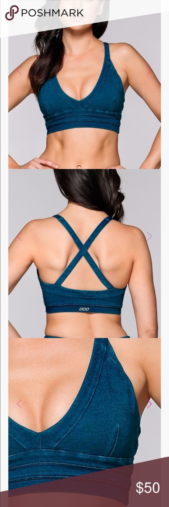 NWOT Lorna Jane denim sports bra New without tags. Perfect condition, only selling because fit isn't quite right on me. Size small with removable cups. Note the fourth pic for tech details. Amazing sports bra! Lorna Jane Intimates & Sleepwear Bras