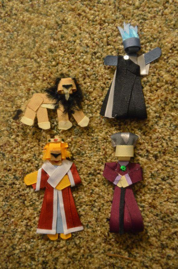     ribbon, sculpture, art, doll, hair, clip, band, barrette, pin, accessory, bow, Disney, villain, Scar, Lion King, Hades, Hercules, Prince John, Robin Hood, Lady Tremaine, Cinderella