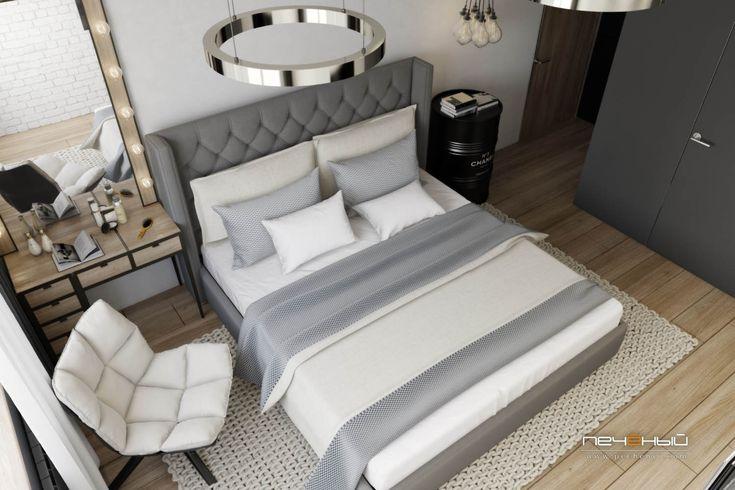 """Дизайн интерьера спальни в трёхкомнатной квартире в стиле минимализм. Серый, белый, чёрный, коричневый, дерево. Студия дизайна """"Печёный""""."""