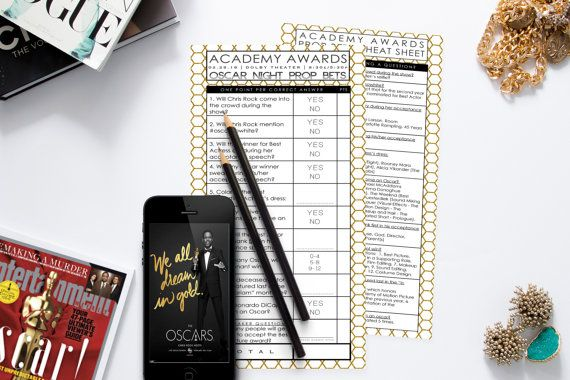 Oscar Party Prop Bets Game / Academy Awards Party / Printable / 2016 Academy Awards Game / 2016 Oscar Game