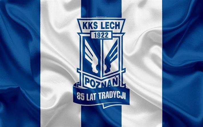 Download wallpapers Lech Poznan FC, 4k, Polish football club, Lech logo, emblem, Ekstraklasa, Polish football championship, silk flag, Poznan, Poland
