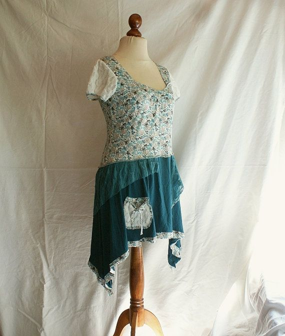 Summer Tunic M Size Upcycled Woman's Clothing Romantic by cutrag, $67.89