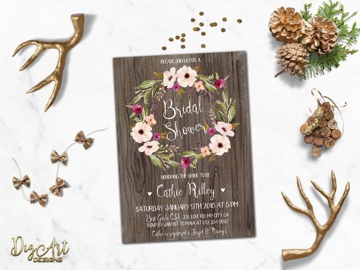 REPIN NOW for later! Rustic Bridal Shower Invitation Printable Floral Bridal Shower Invite Winter Bridal Shower Blush Pink Boho Chic Bridal Shower Digital File by DigartDesigns on Etsy