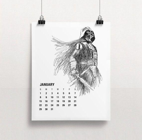2017 calendar printable star wars calendar holiday by for Planning mural 2017