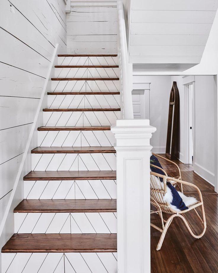 Shiplap And Herringbone Pattern Stairway White With Brown Wood Steps Coastal Home Stair Decor Ramsey House Stair Riser Vinyl