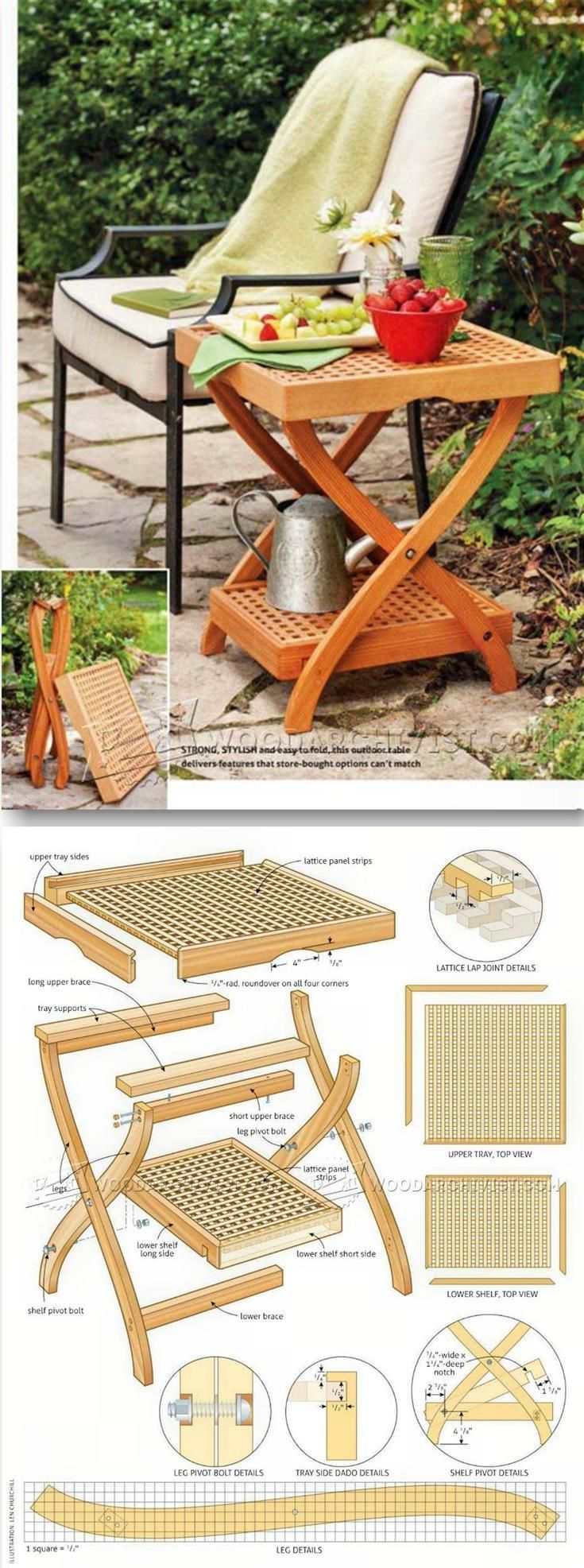 Garden chair top view - Butler Tray Table Plans Outdoor Furniture Plans And Projects Woodarchivist Com