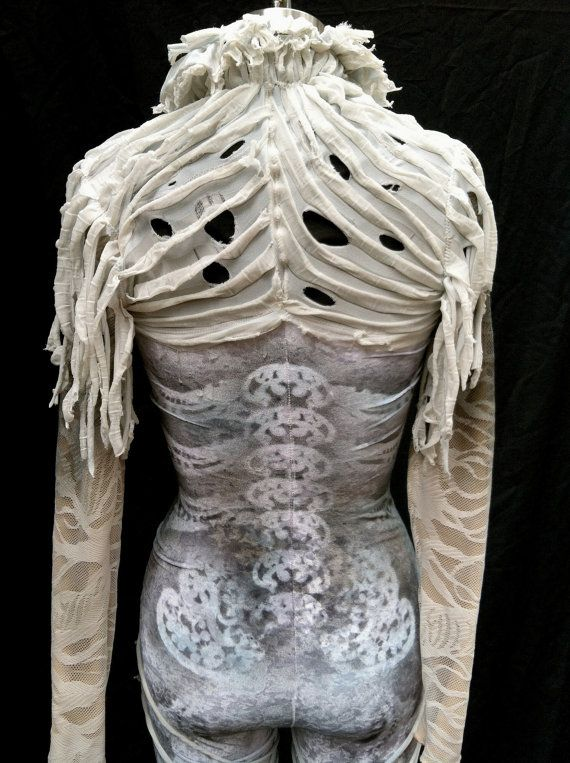 Aerial silks costume / custom dance costume / goth skeleton ghoul ghost zombie / made to order by HiWirecostumes #Halloween