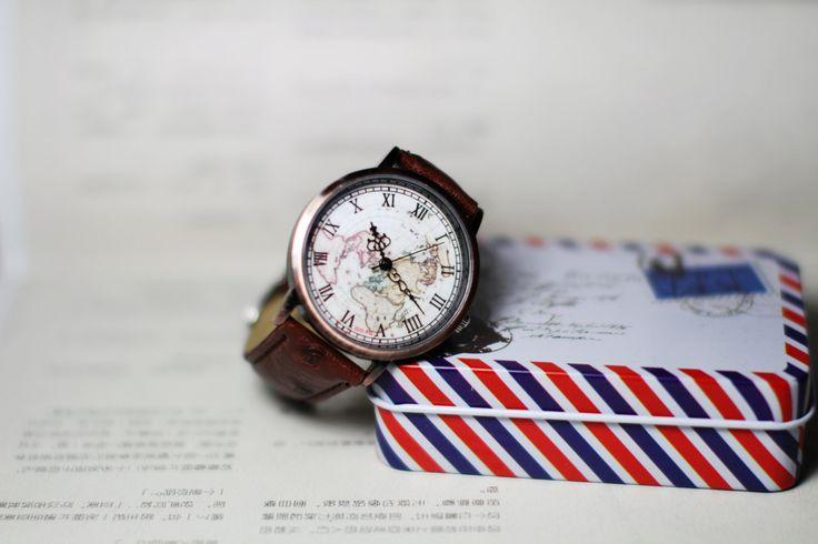 Kaart horloge zeilen dagboek Vintage stijl Leather Watch