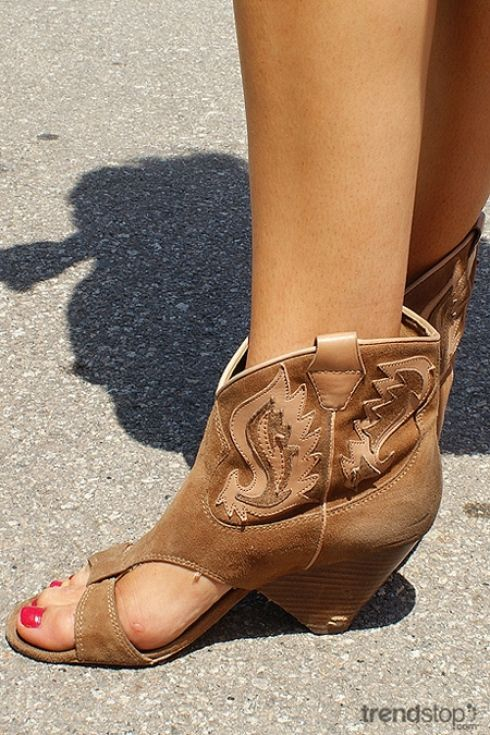Peep Toe Cowboy Boot Style Shoes Shoes Fashion