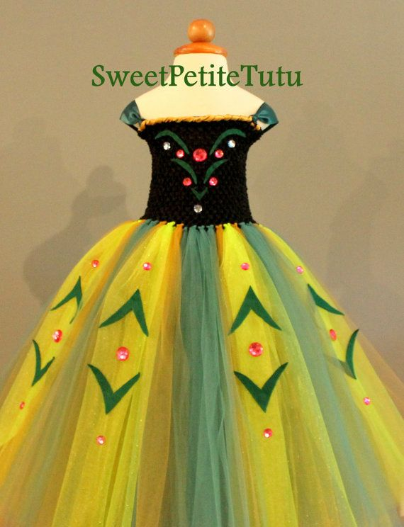 Anna Coronation Dress, Newborn and up, Lined top Frozen Tutu Dress, Puff Hair pin included