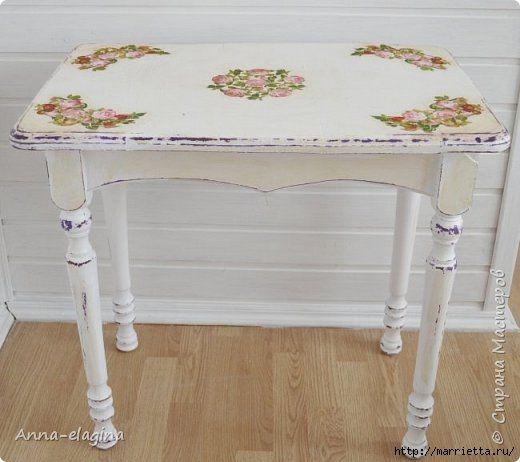 Винтажная переделка старого стола (520x462, 104Kb)
