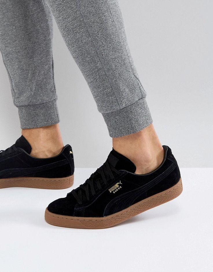 Puma Suede Gum Sole Sneakers In Black 36324221 - Black