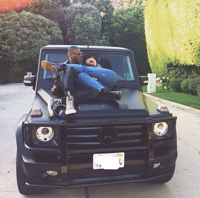 Kylie Jenner and Shamaurice on top of my favorite car ever, the beloved Mercedes Benz G Wagon