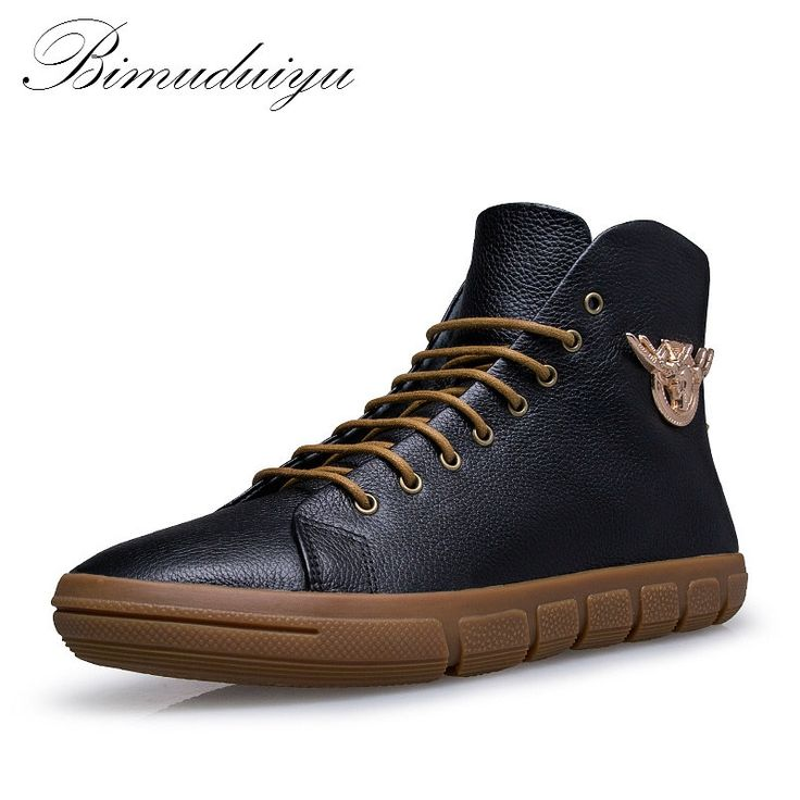 98.20$  Buy here - http://ali1oh.shopchina.info/1/go.php?t=32738670023 - BIMUDUIYU Brand New Men Winter/Autumn Boots Warm Genuine Leather Waterproof Motorcycle Boots Plus Size Snow Boots Free Shipping  #aliexpresschina