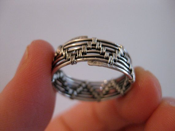 Wire wrapped ring, men's women's, sterling silver, oxidized and polished, handmade,