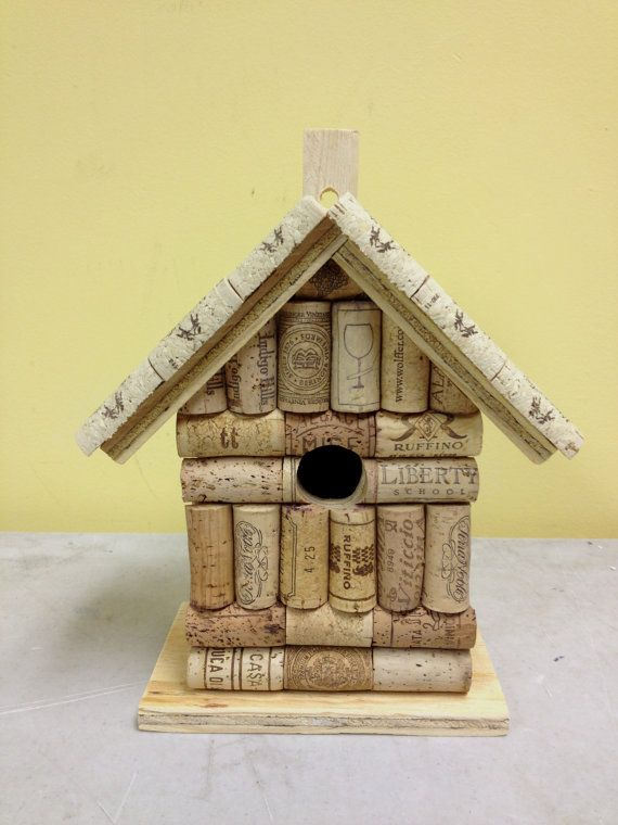 Wine cork and wood birdhouse bird house by LesliesCorkCreations
