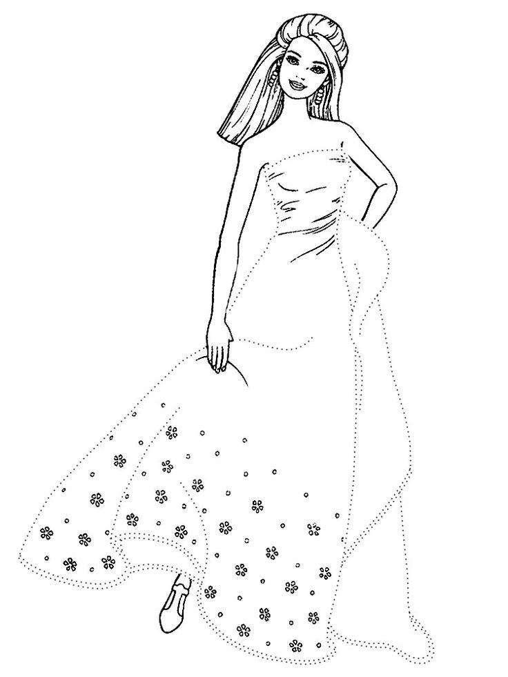 Распечатать черно-белые картинки Барби для девочек. Обведи ...