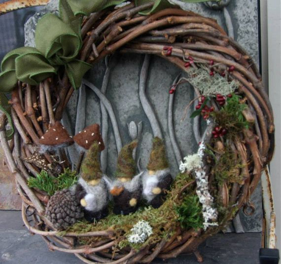 Three little woodland Gnomes sharing a pint and a smoke! This wreath is made to order.    A bit hard to see in the photos, two gnomes are holding