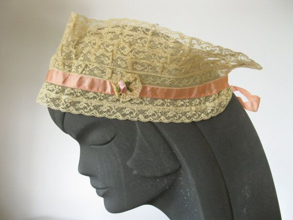 1920s Lace Bandeau Headband Silk Ribbon by BlackRibbonVintage