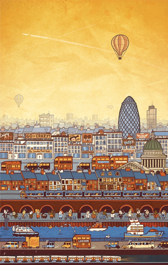 A View of London – Illustration by Sam Bevington.