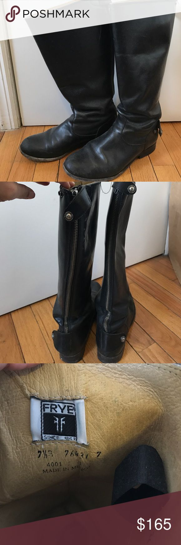 Black Frye Riding Boots Tall Black leather Boots with zip back Frye Shoes