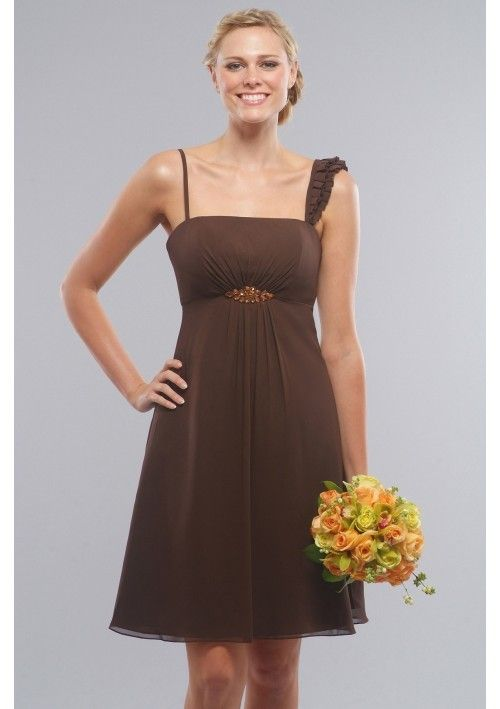 Noble Chiffon Spaghetti Straps square Neckline Empire bridesmaid dresses
