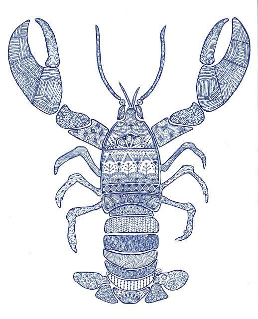 Simply Pinteresting: Lobster Doodle Art - Zen Tangle