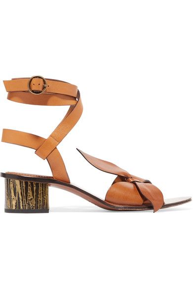 Heel measures approximately 40mm/ 1.5 inches Tan leather Buckle-fastening ankle strap Designer color: Sienna Red Made in Italy