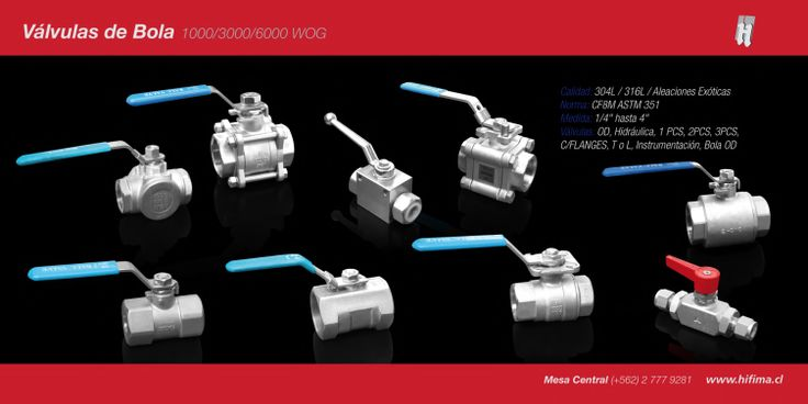 """Válvula de Bola 1000 / 3000 / 6000 WOG Calidad: 304L / 316L / Aleaciones Exóticas Norma: CF8M ASTM 351 Medida: 1/4 """" hasta 4"""" Válvulas: OD, Hidráulica, 1 PCS, 2PCS, 3PCS, C/FLANGES, T o L, Instrumentación, Bola OD"""