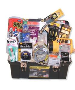 Toolbox gift basket is a great idea for a vehicle...Or as a guy garage starter kit. Everything you are always running out of and/or losing.