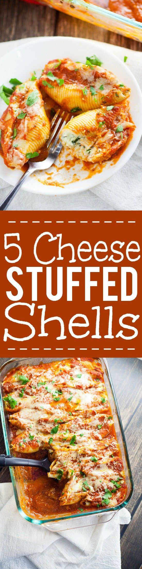 5 Cheese Stuffed Shells Recipe is an easy pasta recipe perfect for family dinner.Classic Italian flavors featuring five different cheeses, garlic, spinach, and red sauce this 5 Cheese Stuffed Shell Recipe is creamy, cheesy, and satisfying. Perfect for a meatless family dinner recipe! Yum! I love cheese!