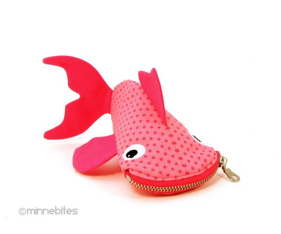 Pink Fish Bag by MinneBites / Handmade Fish Purse - Bright Pink Guppy Coin Purse - Pet Fish Zipper Pouch - Cute Toddler Girl - Ready to Ship