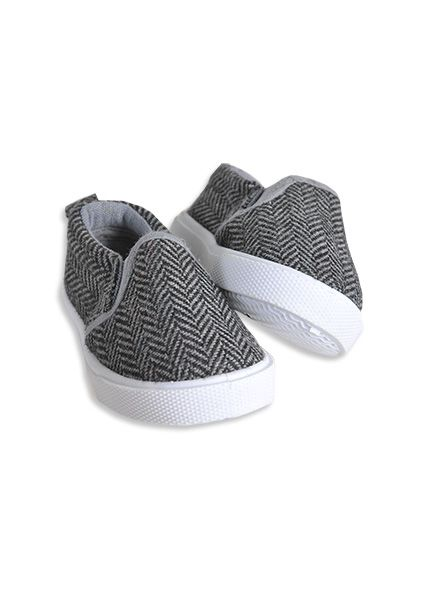 Pumpkin Patch - footwear - baby boys herringbone slip-ons - W3FW10008 - steel grey - 1 to 4