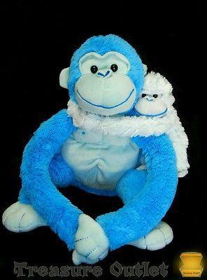 Animal Alley Toys R Us Stuffed Plush Blue Gorilla Monkey Ape With Baby